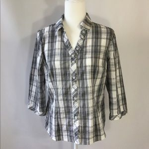 Christopher&Banks Top Blouse Plaid Sz M